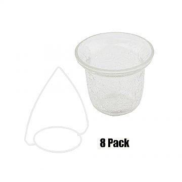 Crackled Glass Votive w/ Hanger (8 PACK) Hanger Color: WHITE Glass Color: CLEAR